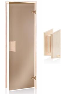 Врата за сауна изцяло стъклена с дървена дръжка