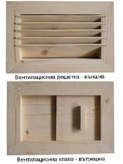 Комплект за вентилация за сауна от две части - решетка и клапа.