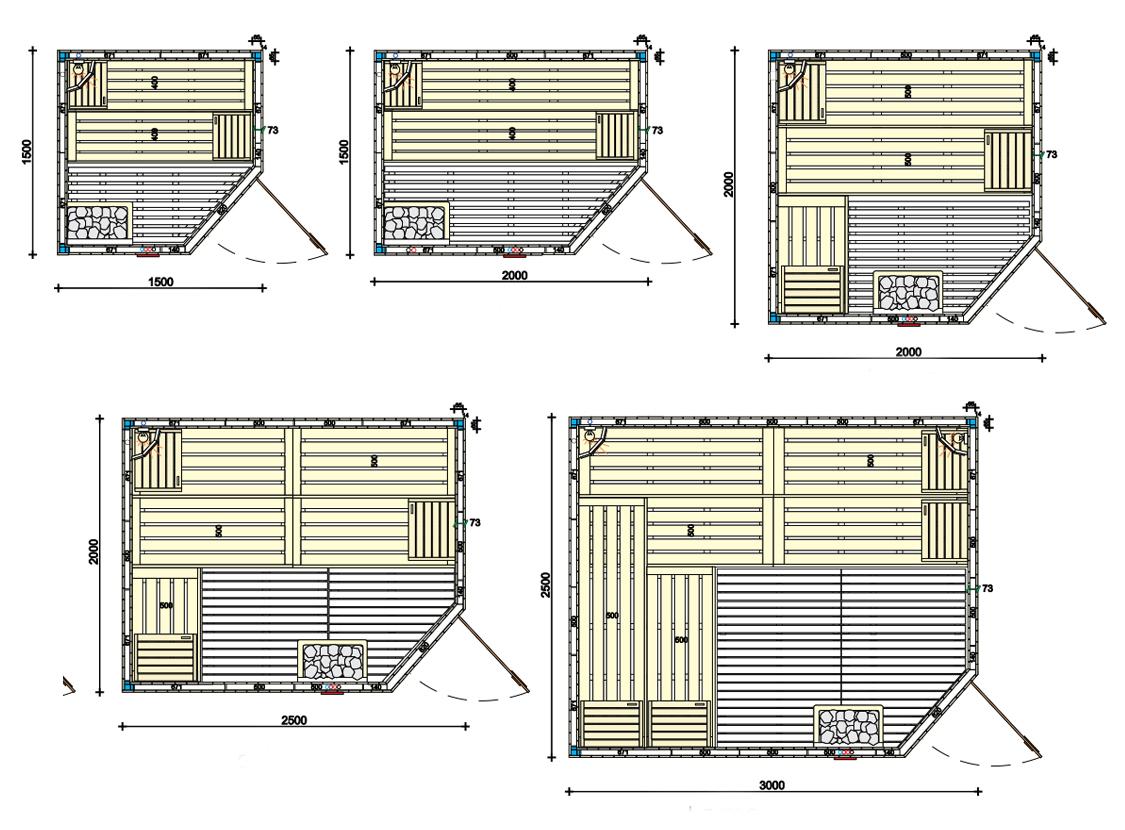 Стандартна сглобяема сауна от северен смърч или бял бор, каталог с ниски цени